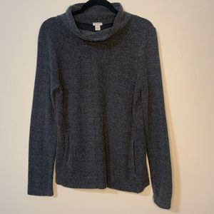 J Crew Grey Mock Neck Soft Pullover